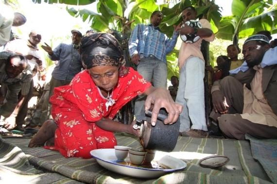 coffee serving in Harrar
