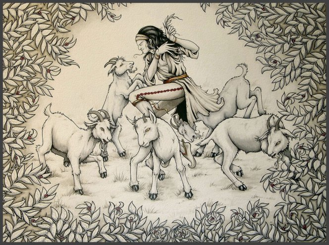 Hình ảnh minh họa về những chú dê của người chăn dê Kaldi nhảy múa sau khi ăn một thứ quả lạ.