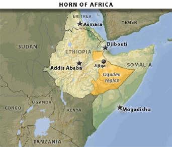Bản đồ vị trí của những trại tị nạn của người Ogaden gần biên giới Ethiopia.
